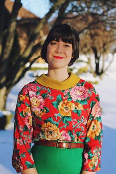 Styling idea: turn a summer shirt into winter florals by pairing it with a bold turtleneck and a knit pencil skirt