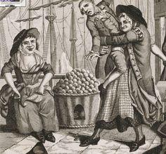 "1781. Detail of ""Cornish Hug"" by John Nixon.  18th century women's clothing, England. Both ladies wear aprons made of windowpane check fabric."