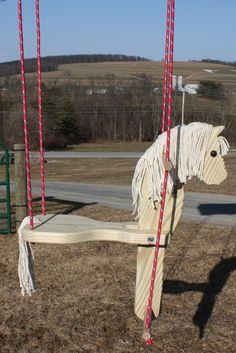 Cute horse swing to make for Grace. Cute horse swing to make for Grace. Horse Crafts, Wood Crafts, Easy Woodworking Projects, Wood Projects, Teds Woodworking, Horse Swing, Saddle Swing, Wooden Horse, Cute Horses