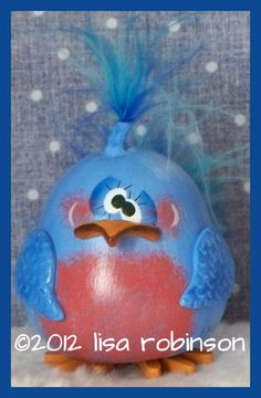 Items similar to hand painted bluebird bottle GOURD prim chick hp not so angry blue bird ofg BLOSSOM on Etsy Light Bulb Art, Light Bulb Crafts, Painted Light Bulbs, Bird Crafts, Recycled Crafts, Holiday Ornaments, Christmas Crafts, Hand Painted Gourds, Gourds Birdhouse