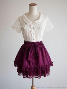axes femme Victorian Setup mixed Blouse Skirt Ribbon Layer Lolita Kawaii Japan #axesfemme