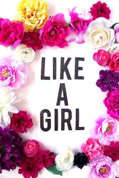 LIKE A GIRL Glitter Banner / Sassy Banner / Cheeky Banner