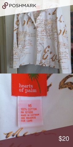 Hearts of Palm white denim jacket Beautiful Hearts of Palm lightweight denim jacket with pretty gold design Hearts of Palm Jackets & Coats Jean Jackets