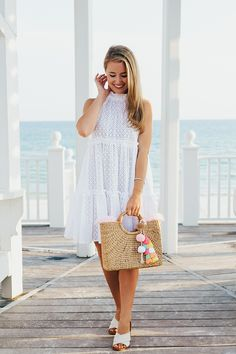 Mini Ruffle Tier Dress in White Eyelet - Mini Ruffle-Trimmed Broderie-Anglaise Cotton Dress<br /> Preppy Outfits, Preppy Style, Dress Outfits, Summer Outfits, Fashion Dresses, Summer Dresses, Nice Outfits, Fashion Fashion, Fashion Tips