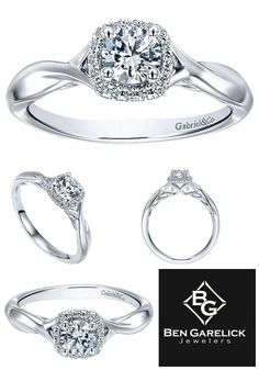 Available at Ben Garelick and BenGarelick.com  Gabriel Cushion Halo Engagement Ring in White Gold