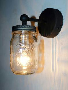 Mason jar wall light