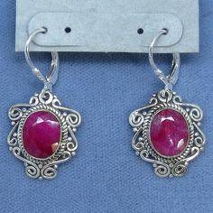 Untreated Genuine Ruby Earrings - Leverback - Sterling Silver - Victorian Filigree - 171201