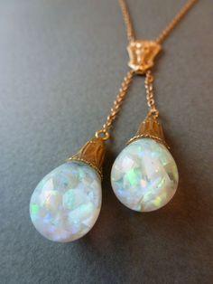 Rare Vintage Art Deco 14k Gold Filigree Double Drop Floating Opals Lavaliere Necklace