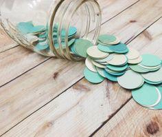 Mint Ombre Confetti  Die Cut Circles  Dalmation Dots by FioriBelle, $6.00