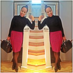 Work ensemble hot pink houndstooth skirt