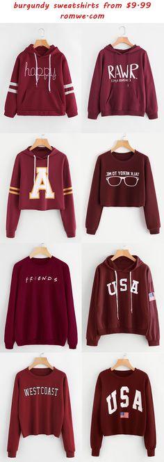 fall chic burgundy sweatshirts - romwe.com