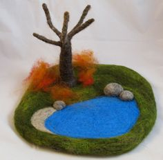 "Changing Seasons- Needle Felted Play Mat- Waldorf Toy- Brilliant!I""m looking at that tree- pipe cleaners and wool?"
