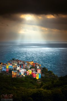 One of my favorite places in all the world. ~ a heavenly lit Cinque Terre, Italy by Sergio Del Rosso~~ Places Around The World, Oh The Places You'll Go, Places To Travel, Places To Visit, Around The Worlds, Beautiful World, Beautiful Places, Beautiful Forest, Beautiful Scenery