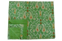 Indian Queen size Green multicolor Ikat Kantha Quilt  by lavinas