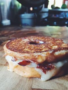 20 Insanely Awesome Eggless Breakfast Sandwich Recipes from buzz worthy Chicken and Waffles to classic smoked salmon bagels.: Donut Grilled Cheese with Bacon and Maple Glaze
