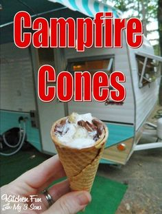 Camping Cones & Other Camping Fun Food Ideas! Camping Cones & Other Camping Fun Food Ideas! Best Camping Meals, Camping Desserts, Diy Camping, Tent Camping, Camping Hacks, Camping Recipes, Camping Ideas, Glamping, Camping Stuff