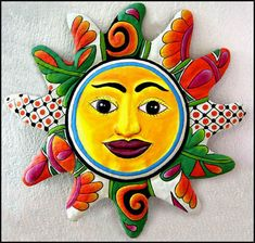 "Decorative Sun Wall Decor - Tropical Orange & Green Painted Metal Celestial  Design - 24"" x 24"" -   - See many more tropical decorating ideas at www.TropicDecor.com"