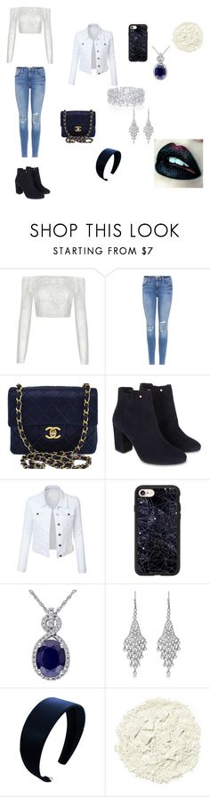 """""""High school outfit"""" by magicalpowers on Polyvore featuring Frame, Chanel, Monsoon, LE3NO, Casetify, Graff, Allurez and Illamasqua"""