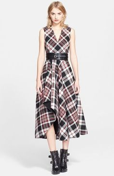 Alexander McQueen Plaid Fit & Flare Midi Dress