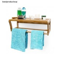 #Ebay #Bathroom #Wall #Rack #Bamboo #1 #Shelf #One #Towel #Holder #Rail #Storage #Solution #Mounted