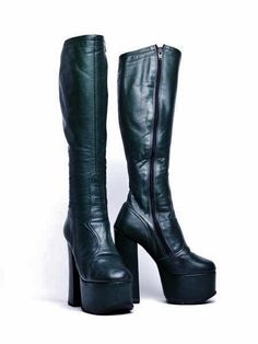 0043935eb43 Platform-Soled Boot With Stacked Heel bottle-green leather