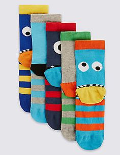 5 Pairs of Freshfeet™ Cotton Rich Novelty Assorted Sockswith Silver Technology