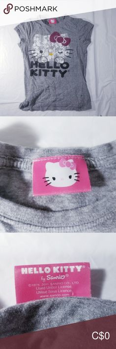 Hello Kitty t-shirt Grey t-shirts with Hello Kitty on the front and the words Hello Kitty Hello Kitty Shirts & Tops Tees - Short Sleeve Hello Kitty T Shirt, Hello Kitty Coloring, Easter Sale, Cat Shirts, Plus Fashion, Fashion Trends, Gray Color, Kids Shop, Grey