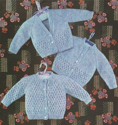 Baby Cardigan PDF Knitting Pattern : Boys and Girls . Babies 18, 19 and 20 inch chest . 3 Designs . Instant Download by PDFKnittingCrochet on Etsy