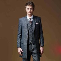Mens Tuxedos Slim Fit Long Dress Suit Grooms Gray Business Men Suits Jacket Pants Vest L8