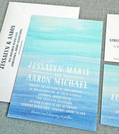 NEW Jessalyn Watercolor Beach Wedding Invitation Sample - Aqua and blue watercolor invitation perfect for a beach or destination wedding