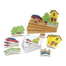 """Spacial Relations Playset - """"Our exclusive play set promotes learning/understanding of spatial relationships, paving the way to important concepts such as top and bottom, right and left, between, behind, under and more."""""""