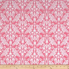 Riley Blake Flannel Medium Damask Hot Pink from @fabricdotcom  Designed by RBD Designers, this double-napped (brushed on both sides) flannel is perfect for quilting, apparel and home decor accents.  Colors include white and hot pink.