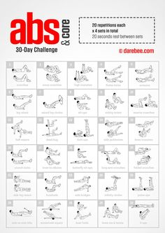 Abs & Core Challenge by DAREBEE is part of Ab workout challenge - Core Challenge, Abdo Challenge, 30 Day Workout Challenge, Challenge Ideas, 30 Day Challenge For Men, Cardio Workout At Home, Abs Workout Routines, Abs Workout For Women, At Home Workouts