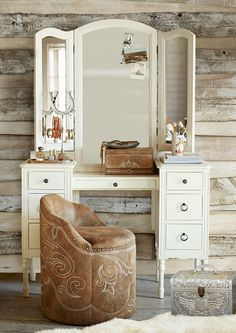 Our vanity is all dressed up and ready to go, with plenty of storage space to stow all of your beauty essentials. The elegant design was inspired by an antique found in Round Top, Texas, and features a distressed finish that gives it a timeworn appeal.