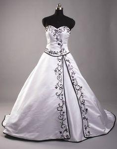 Schulterfreies Brautkleid mit Schnürung u. Schleppe bestickt weiß/Schwarz Gr.36 |