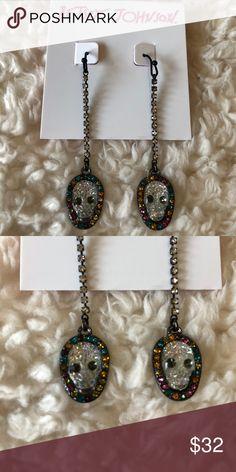 "NWT! BETSEY JOHNSON SKULL DROP EARRINGS BRAND NEW! AUTHENTIC BETSEY JOHNSON SKULL DROP EARRINGS-Approximate 2 1/2"" drop....Metal/plastic/glass/CZ, fish back hook, with glitter skulls.... Betsey Johnson Jewelry Earrings"