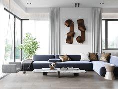 livingroom Minimalist Design, Minimalism, Couch, Curtains, Living Room, Interior Design, Chair, Furniture, Home Decor