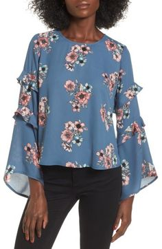 Belle sleeves and floral! All you need for Fall.  Women's Lush Ruffle Bell Sleeve Blouse