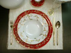 Porcel Gold Ruby Dinnerware   Gracious Style