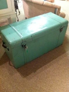 Vintage turquoise trunk... could double as a coffee table! love it