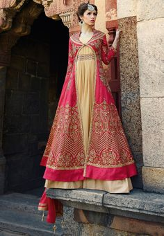 Embroidered Art Silk Abaya Style Suit in Fuchsia and Beige
