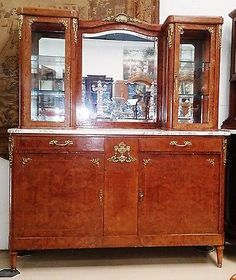 Antique-French-Louis-XVI-Style-Marble-Top-Vitrine-Display-China-Cabinet-Server