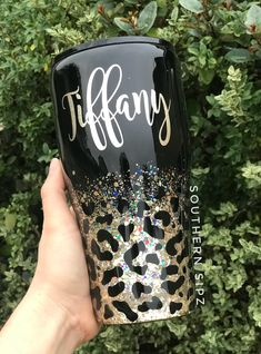 Custom Stainless Steel Tumblers and Drinkware by SouthernSipz Diy Tumblers, Custom Tumblers, Glitter Cups, Black Glitter, Tumblr Cup, Custom Cups, Tumbler Designs, Cup Design, Silhouette Cameo Projects