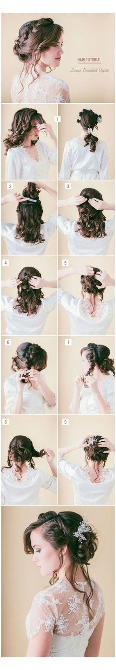 How to: low braided updo tutorial. Braided Updo, Braided Hairstyles, Wedding Hairstyles, Updo Tutorial, Wedding Updo, Braids, Braid Hair, Updos, Ponytail