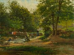 Albert Gabriel Rigolot - Washerwomen on a River