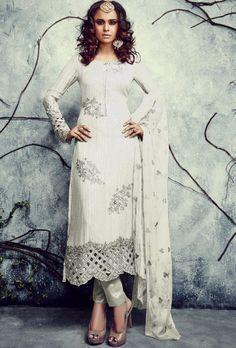 Cream Designer Suit - Desi Royale