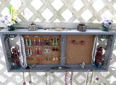 "Jewelry Organizer Wall Display Shelf Message Board..""CLASSIC GRAY & IVORY"" with  Nickel.. or You Choose Color..Shabby Chic Cottage..Handmade. $118.00, via Etsy."