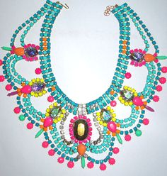 Hand-Painted Crystal Statement Necklace by PureEssentia on Etsy