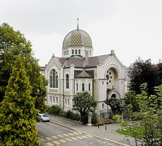 The synagogue in La Chaux-de-Fonds, built in 1896, and one of the biggest in Switzerland. The town's watchmaking industry first attracted Jews from Alsace in the 1830s.