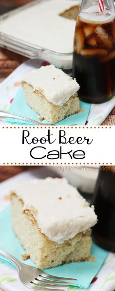 Root Beer Cake - such a fun dessert! With root beer in the batter AND in the frosting, it's a party when this cake is served! Yummy Treats, Sweet Treats, Cake Recipes, Dessert Recipes, Party Recipes, Yummy Recipes, Dessert Ideas, For Elise, Hazelnut Cake